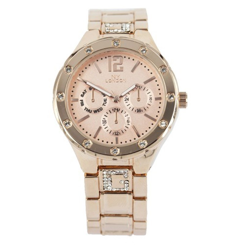 NY London Ladies Chrono Diamonté Detail Watch Rose Gold