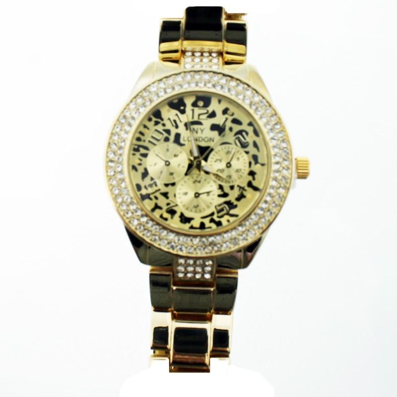 NY London Ladies Crystal Stone Wrist Watch Lampart Design Gold