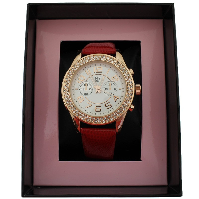 NY London Ladies Crystal Stone Wrist Watch Red