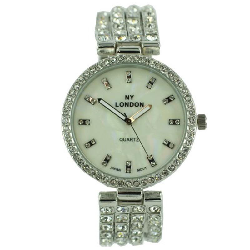 NY London Ladies Crystal Stone Wrist Watch Silver