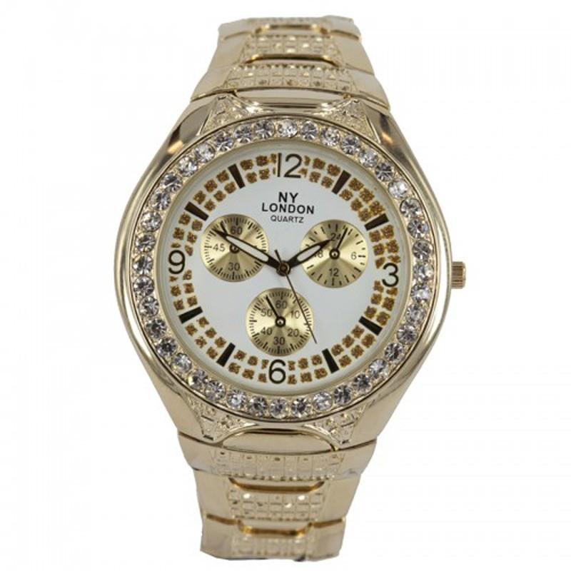 NY London Ladies Quartz Diamonte Watch Gold