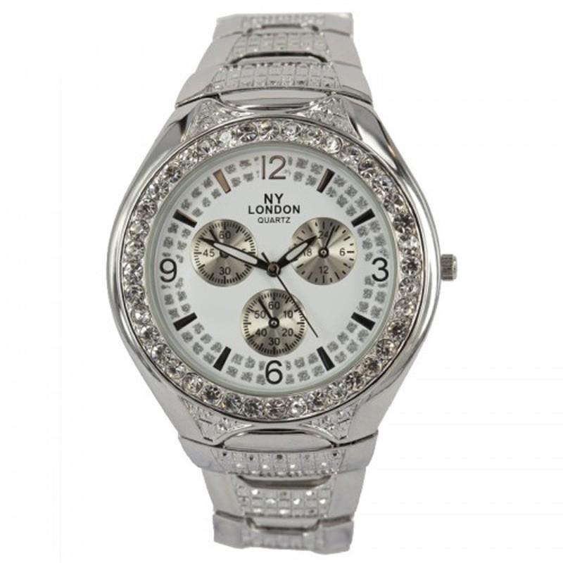 NY London Ladies Quartz Diamonte Watch Silver