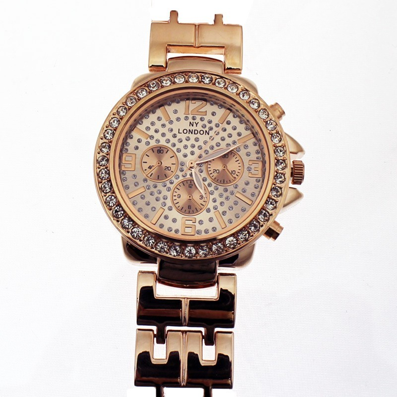 NY London Ladies Crystal Stone Wrist Watch Rose Gold