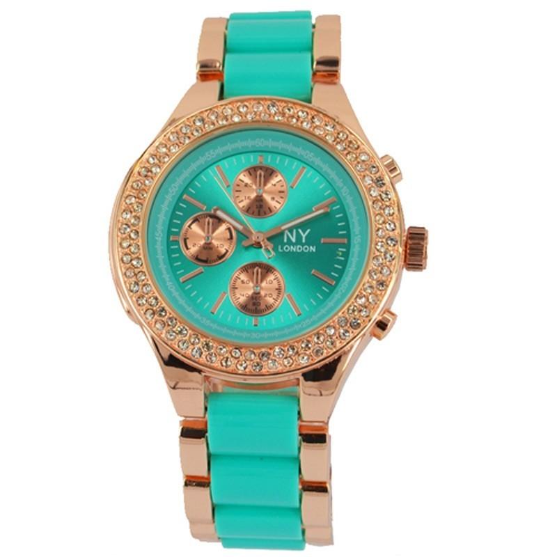 NY London Ladies Crystal Stone Wrist Watch Turquoise