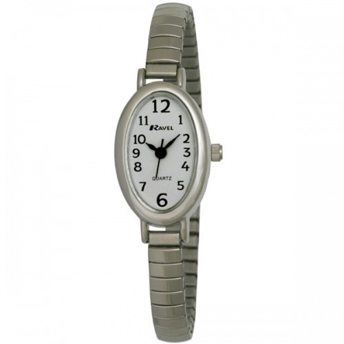 Ravel Ladies Polished Petite Oval Watch - Silver