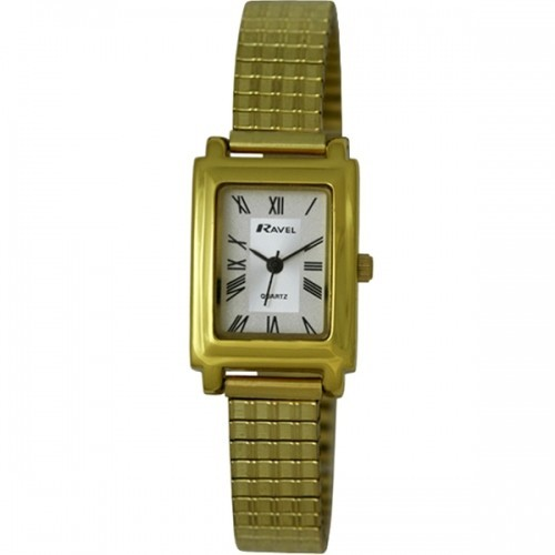 Ravel Ladies Polished Rectangular Watch - Gold