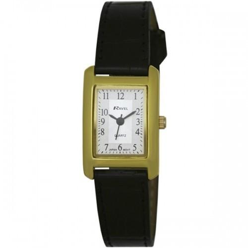 Ravel Ladies Polished Rectangular Watch - Gold