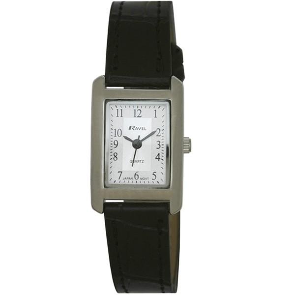 Ravel Ladies Polished Rectangular Watch - Silver