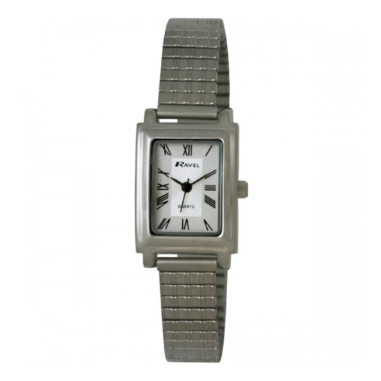 Ravel Ladies Polished Rectangular Watch - Silver