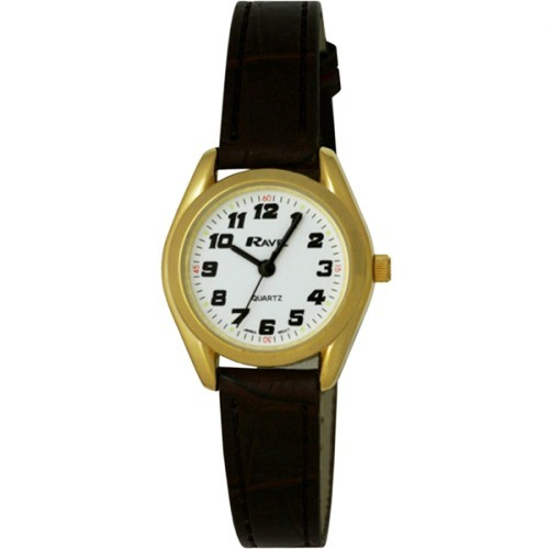 Ravel Ladies Polished Round Retro Style Watch - Gold