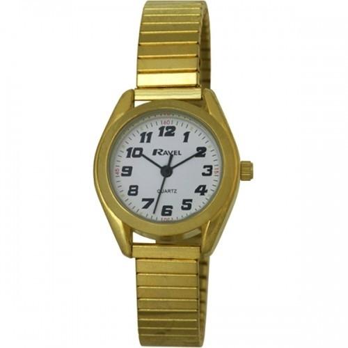 Ravel Ladies Retro Style Round Watch - Gold