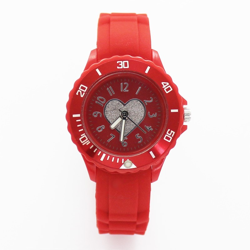 Reflex Ladies Red Rubber Sports Watch With Glitter Heart Dial