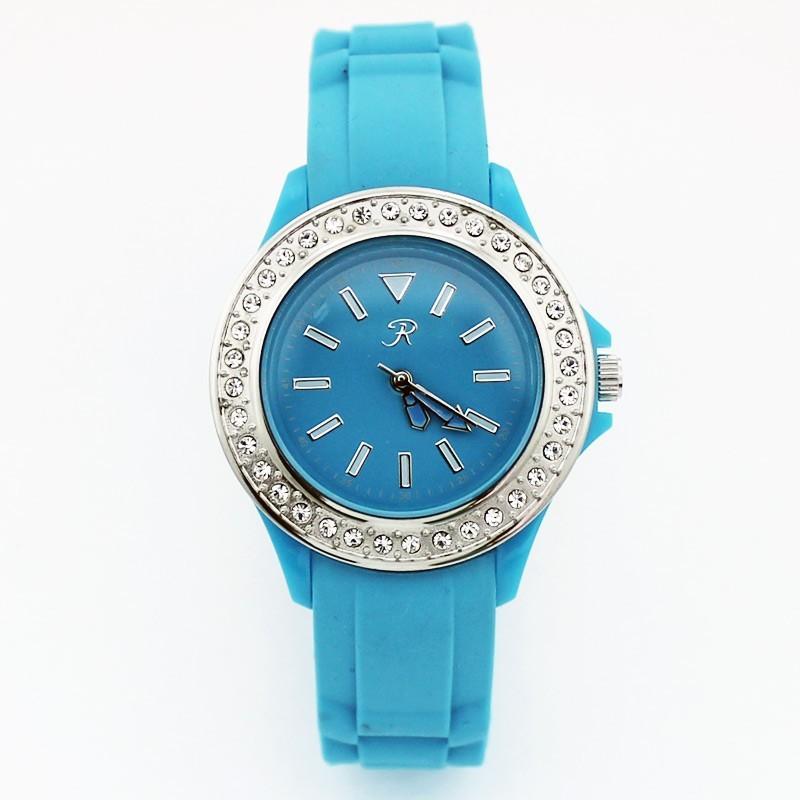 Reflex Ladies Rubber Sports Watch With Stones Blue