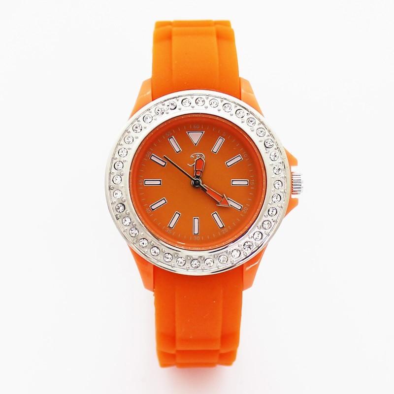 Reflex Ladies Rubber Sports Watch With Stones Orange
