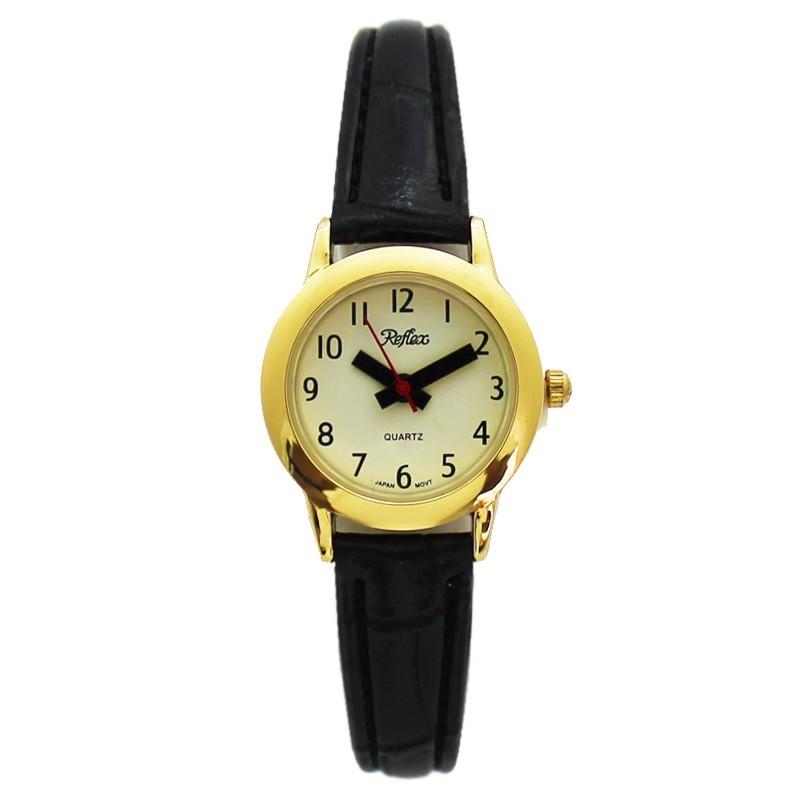 Reflex Ladies Watch With Black PU Strap - Gold
