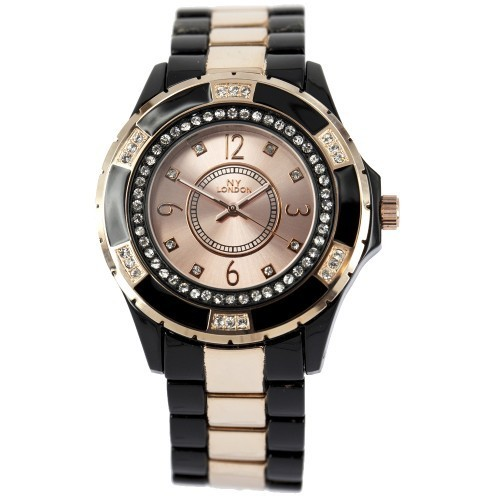 NY London Unisex Crystal Design Watch - Black