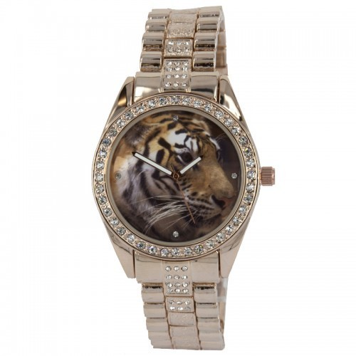 NY London Unisex Tiger Background Watch - Rose Gold