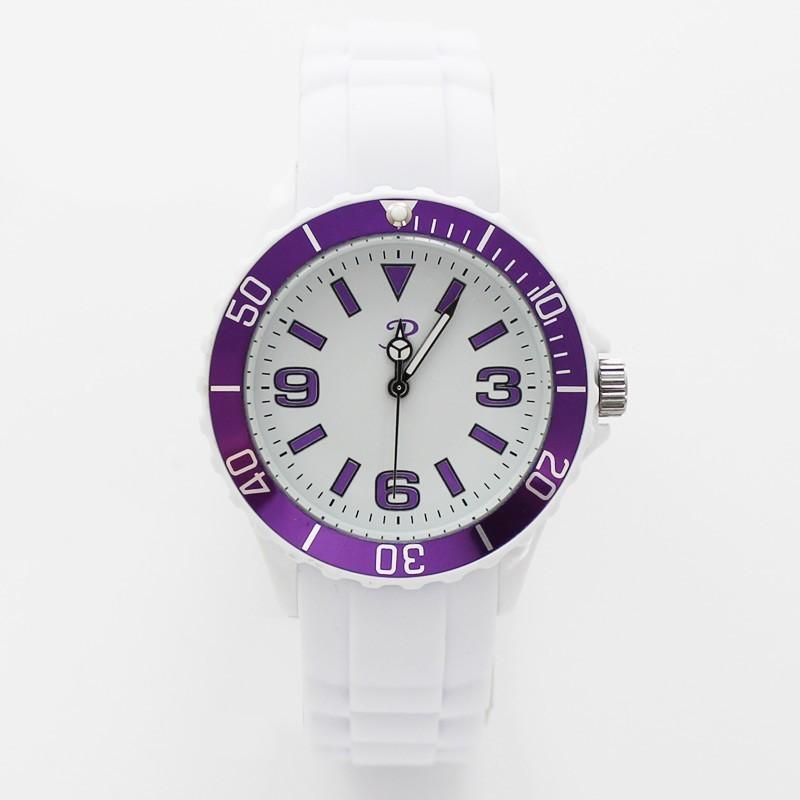 Reflex Unisex Silicon Strap Sports Watch White with Purple Frame