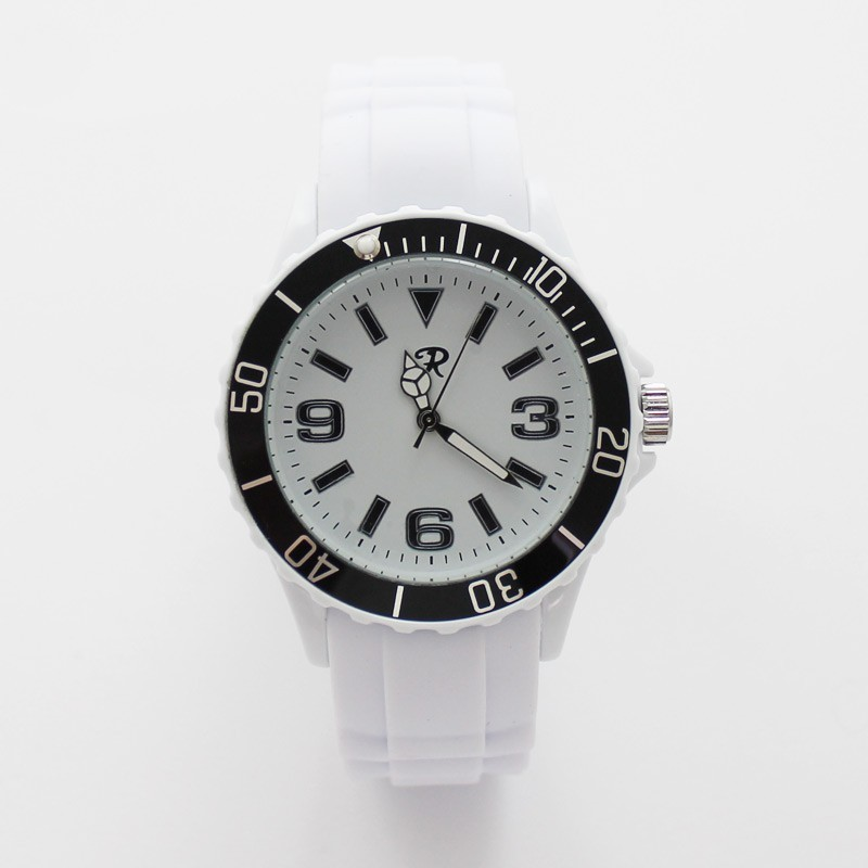 Reflex Unisex Silicone Strap Sports Watch White with Black Frame