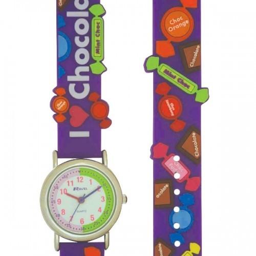 Ravel Childrens I Love Chocolate Watch - Purple