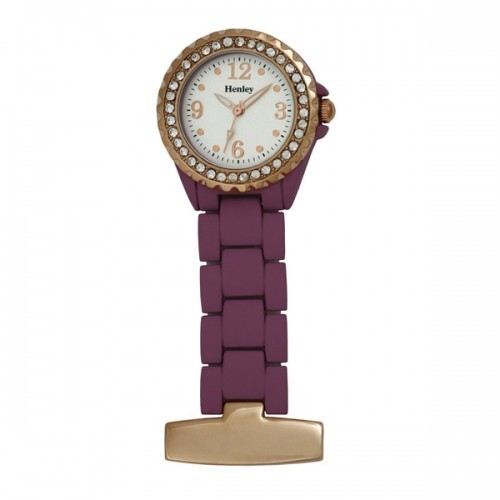Henley Fashion Fob Watch - Purple & Rose Gold