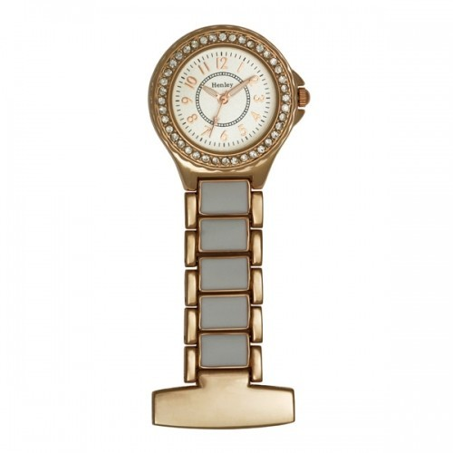 Henley Fashion Fob Watch - Rose Gold & White