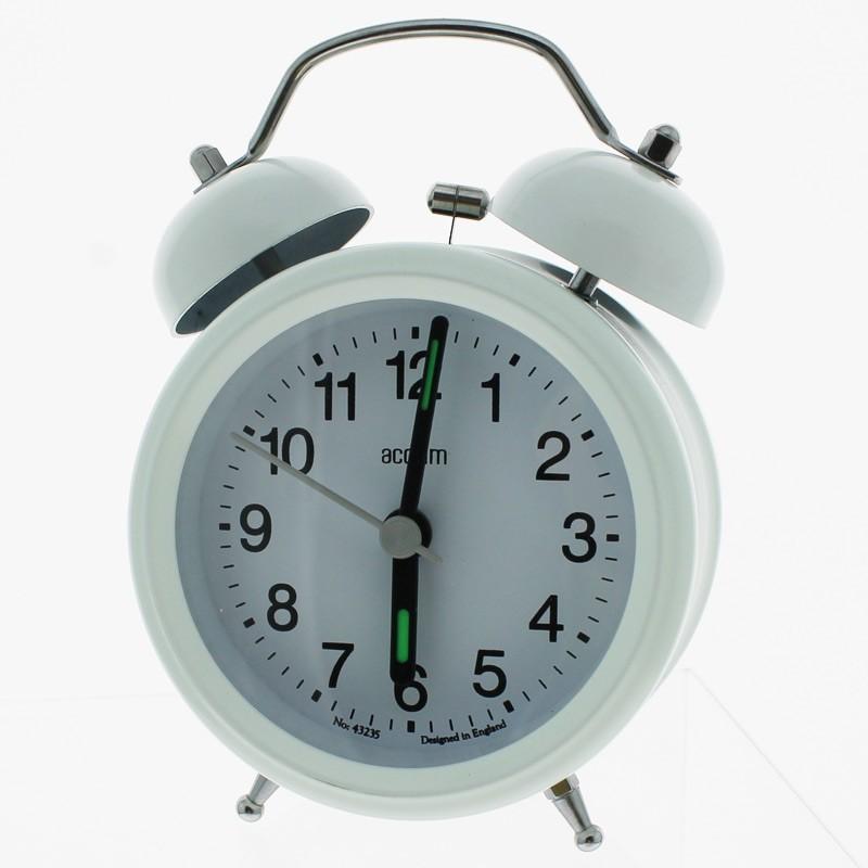 Acctim Battery Powered Ringer Alarm Clock - White
