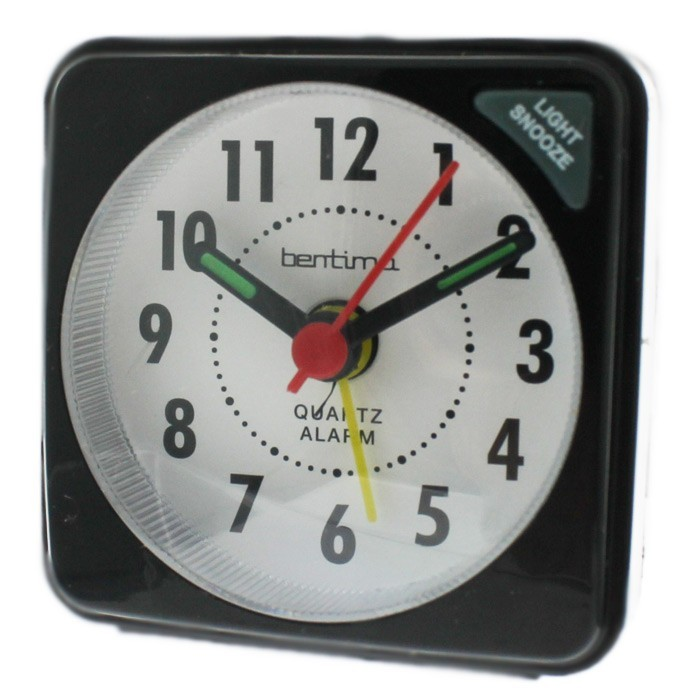 Acctim Ingot Quartz Mini Alarm Clock - Black