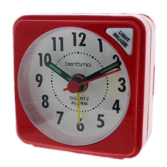 Acctim Ingot Quartz Mini Alarm Clock - Red