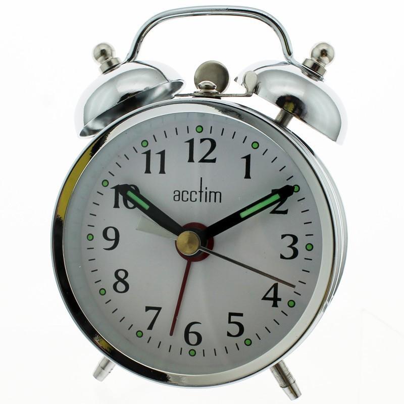 Acctim Mini Mechanical Bell Alarm Clock - Silver