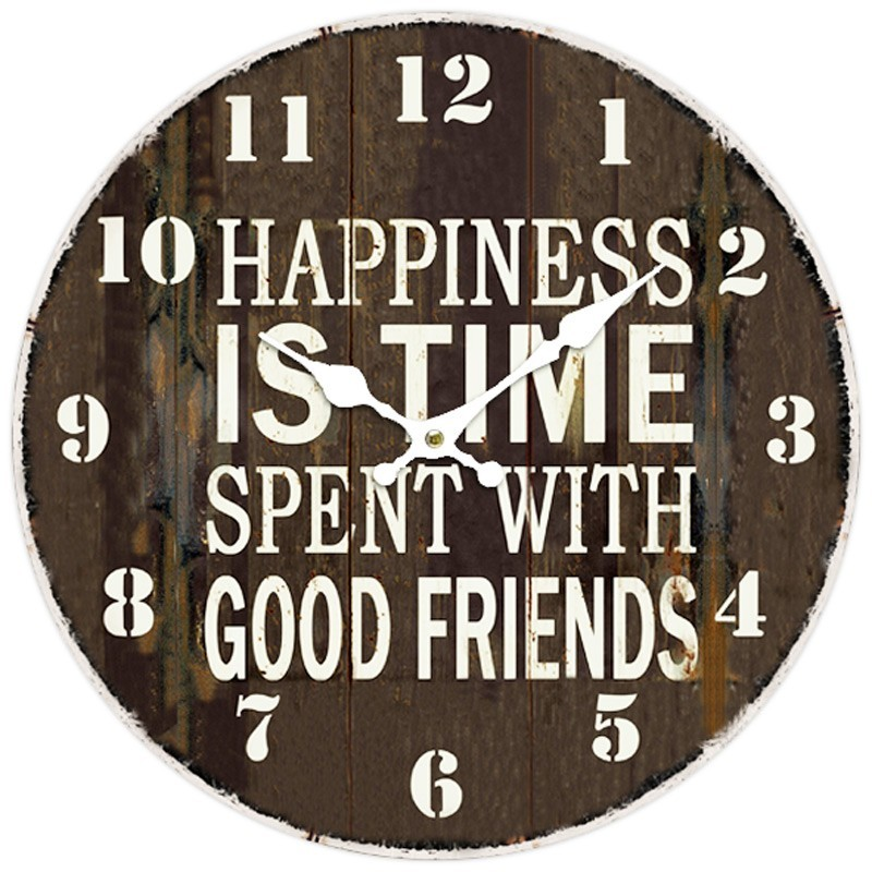 """""""Happiness Is The Time Spent with Good Friends"""" Wall Clock"""