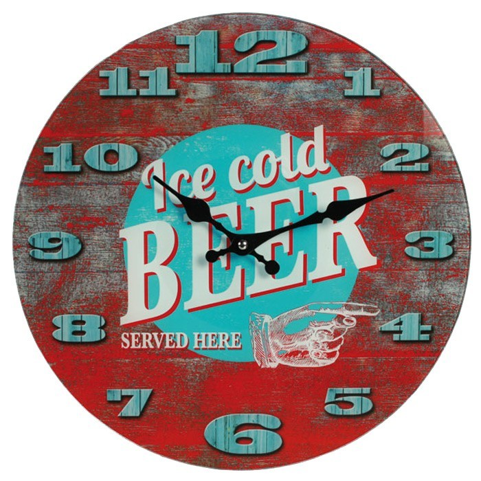 """""""Ice Cold Beer Served Here"""" Glass Wall Clock"""