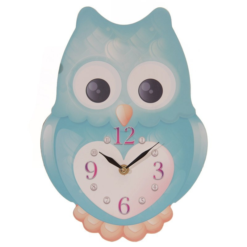 Cute Owl Shaped Wall Clock Assorted Colours