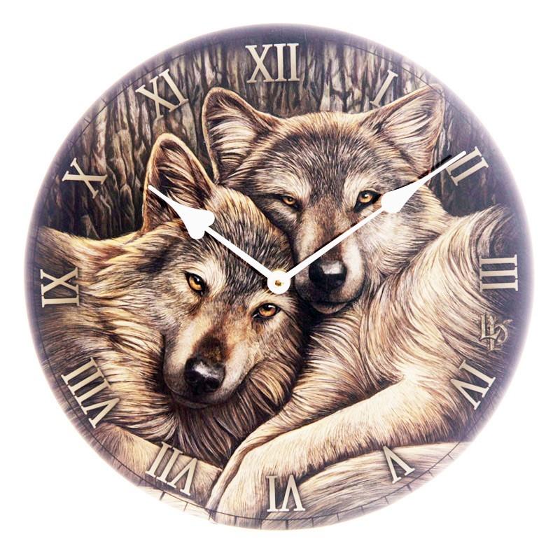 Loyal Companion Wolves Wall Clock