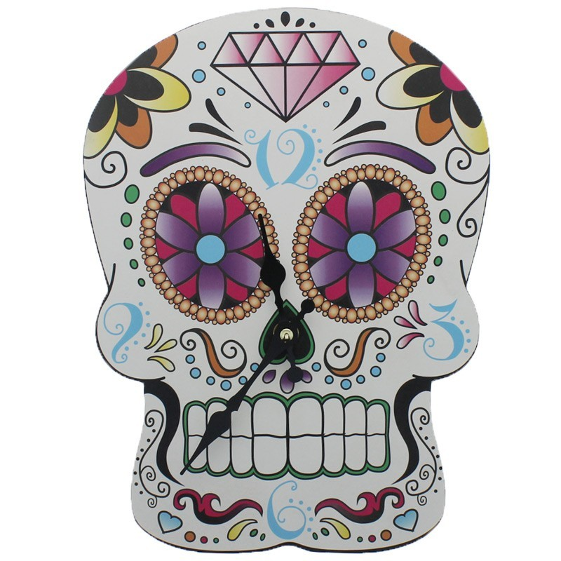 Picture Clock - Day of The Dead Skull Shaped