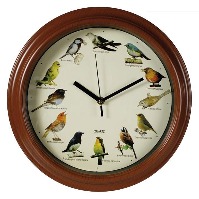 Plastic Wall Clock With Bird Sound