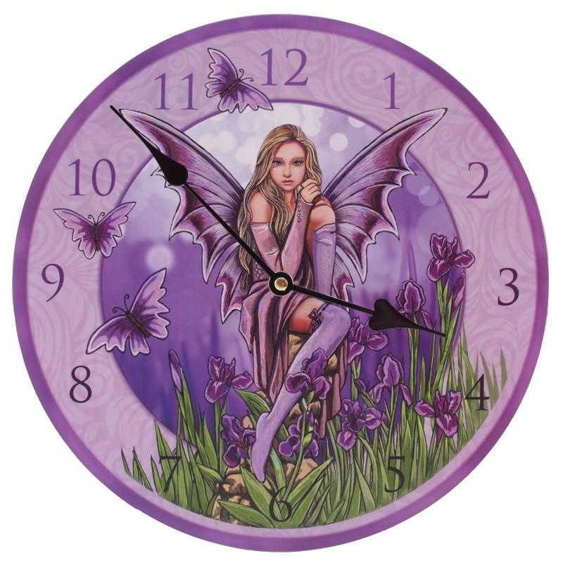 Fairy With Irises Wall Clock