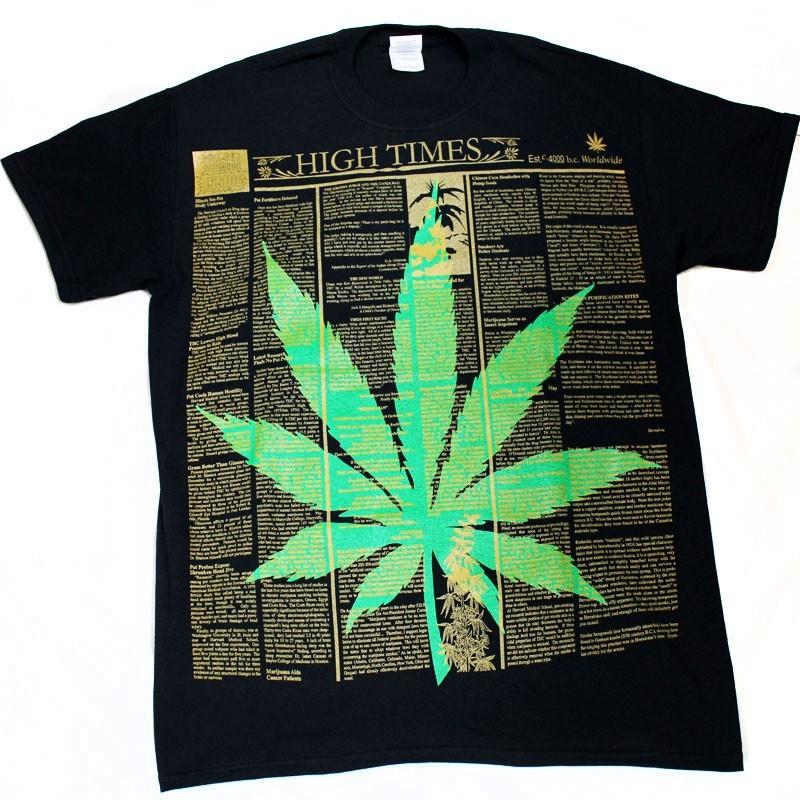 """High Times"" Design Black Cotton T-Shirt"