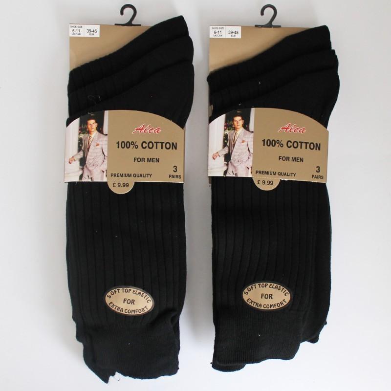 Alca Gold Style Men's 100% Cotton Ribbed Socks - Black