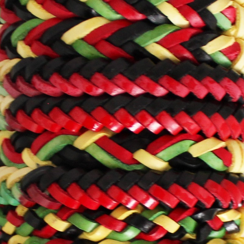 Friendship Leather Bracelet On The Roll Rasta Theme