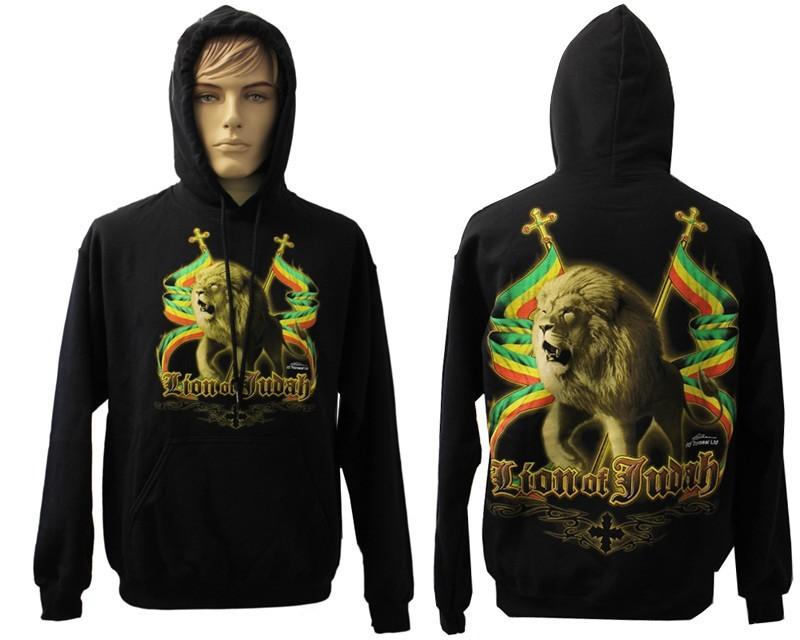 Lion Of Juddah Rasta Design Printed Black Hoodie