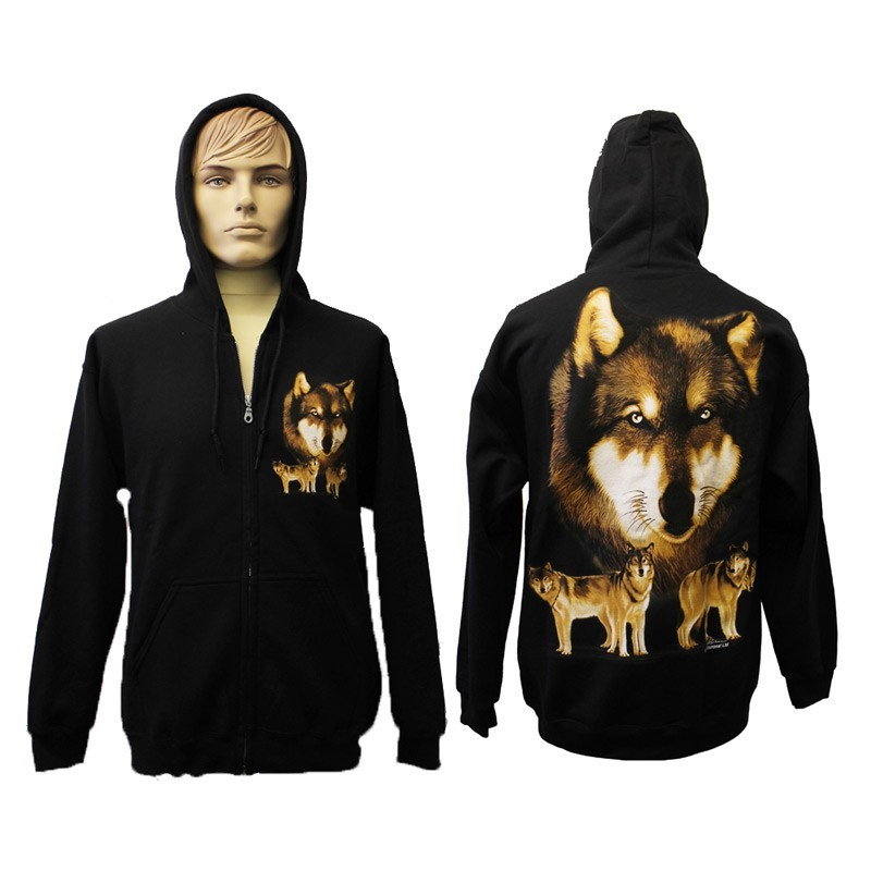 Wolf Pack Design Printed Black Zipped Hoodie