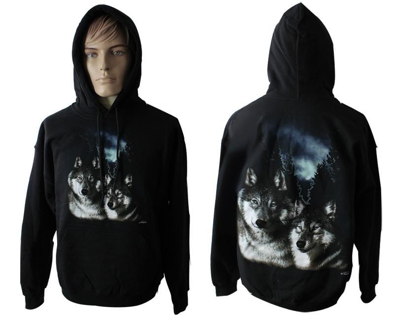 Brothers Wolf Design Printed Black Hoodie
