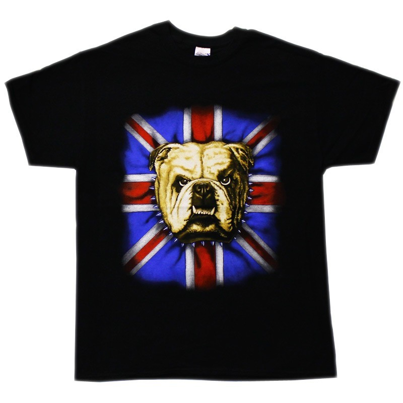 British Bulldog Design Black Cotton T-Shirt
