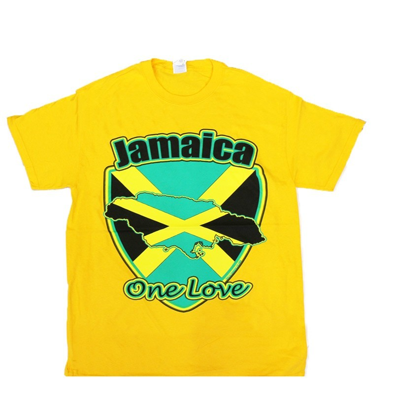 Jamaica One Love in Yellow Cotton T-Shirt