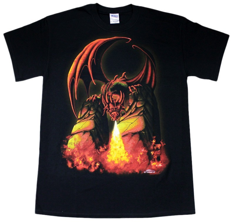 Fire Breathing Dragon Black Cotton T-Shirt