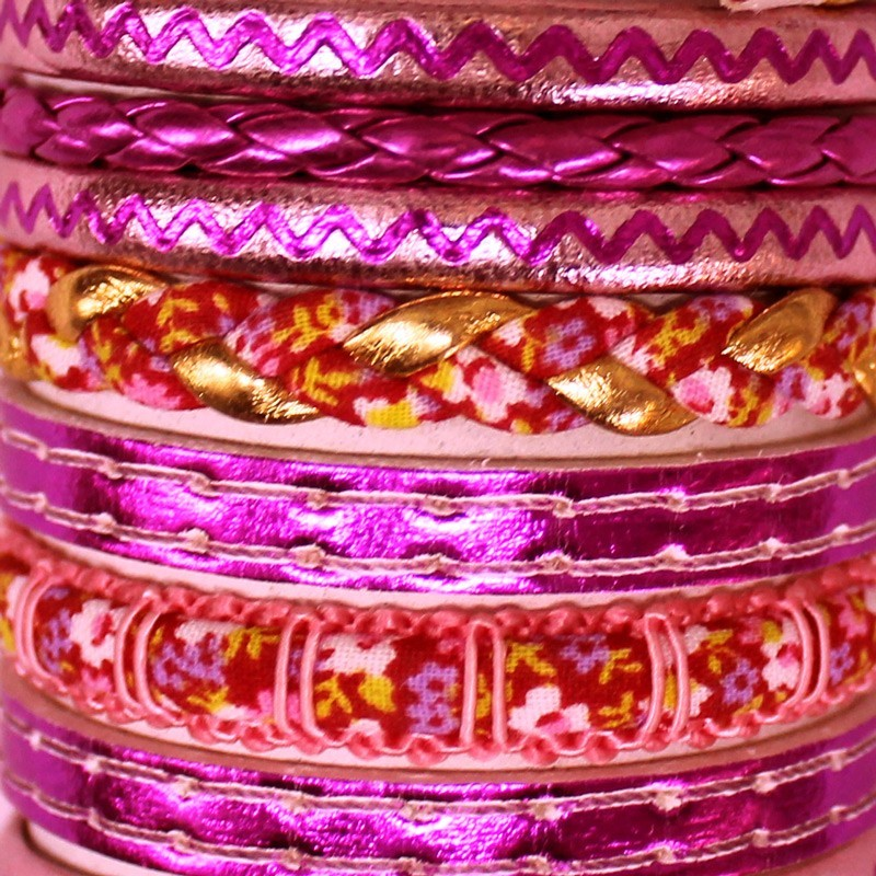 Friendship Leather Bracelet On The Roll Metallic Pink Assorted