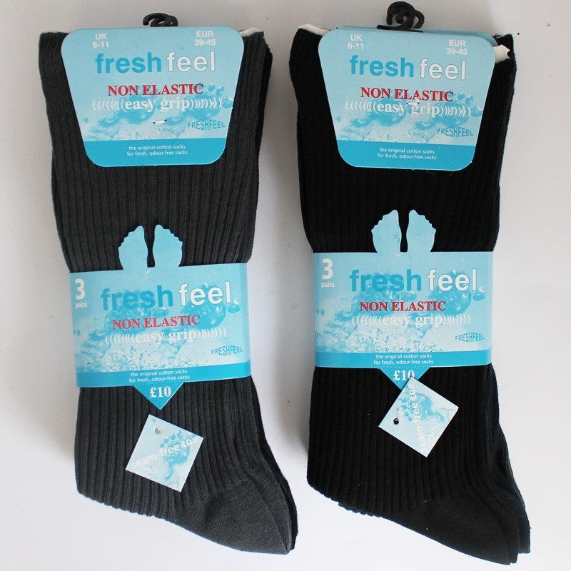 Fresh Feel Men's Non Elastic Easy Grip Ribbed Socks - Dark Assorted