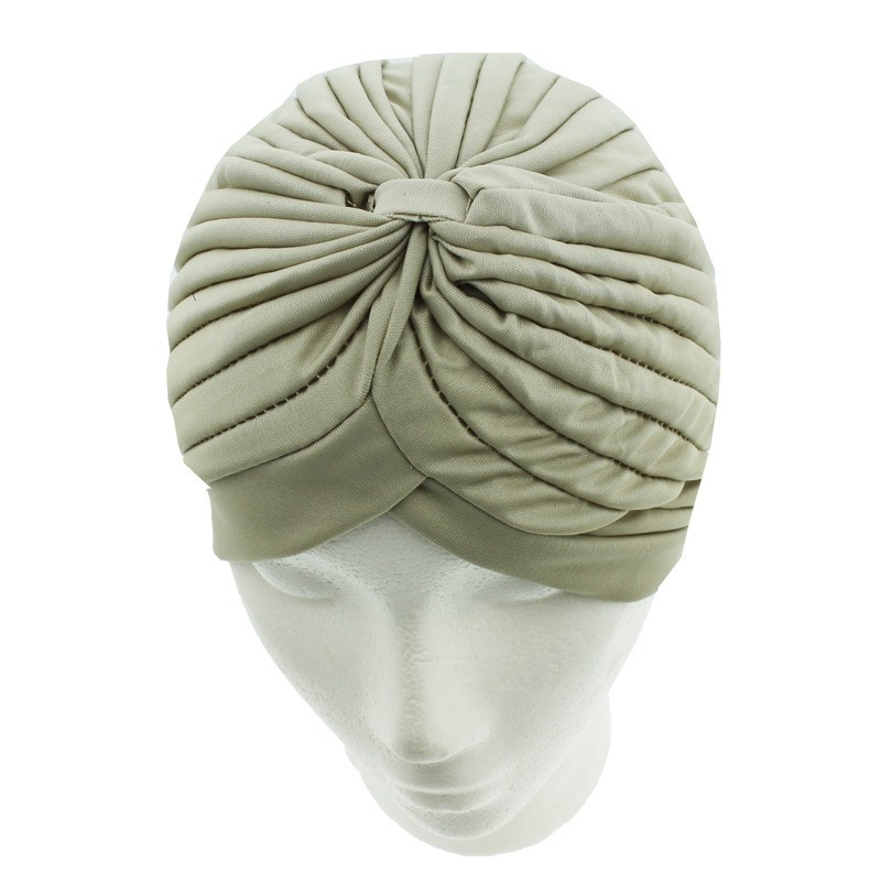 Jersey Turban Hat In Dark Beige Colour