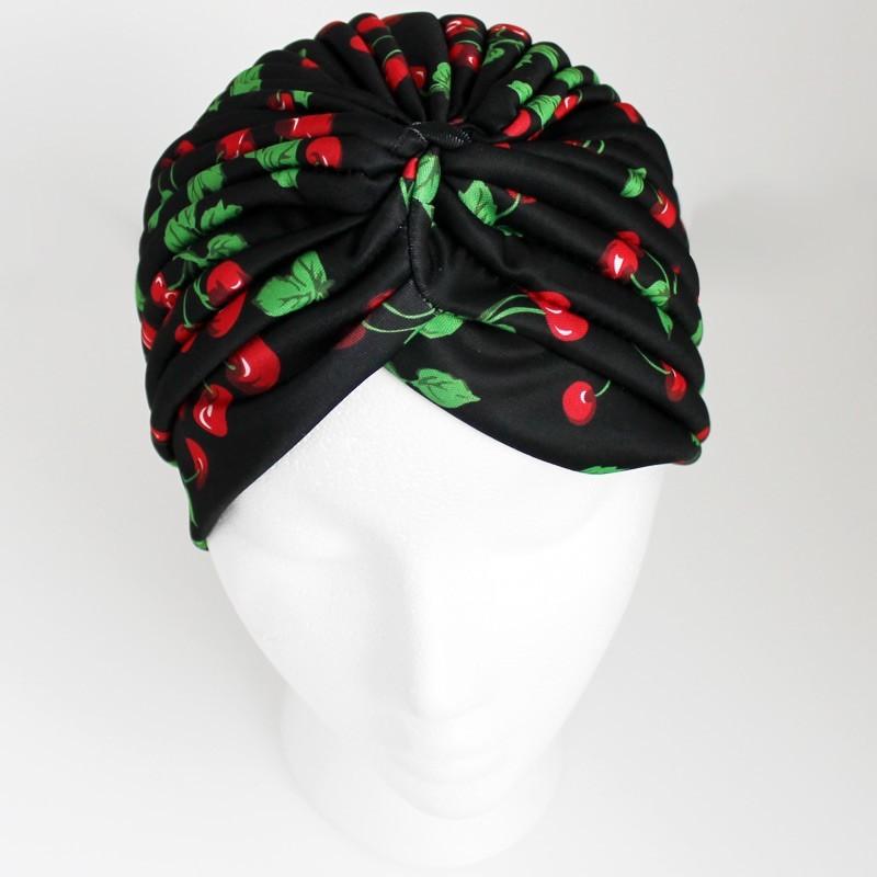 Jersey Turban Hat In Cherry Print